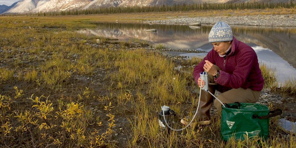 Water sampling in the Arctic. Photo: Steve Hillebrand/CAFF
